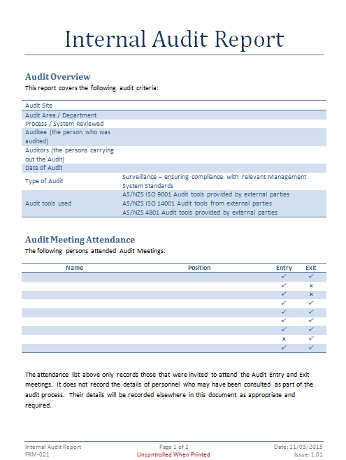 Internal Audit Report Template Internal Audit Documents Fully Editable  Download Now Covers All Of The Major Areas Of The Three Management System  Standards ...  It Audit Report Template